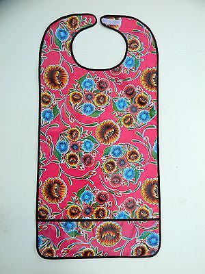 "Adult Bib, Oil Cloth ~ PINK SPRING BLOOM & BROWN TRIM ~ 30"" x 18"""