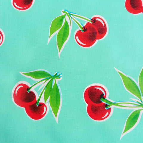 "84"" x 56"" Rectangle Oilcloth Tablecloth AQUA CHERRY, RED GINGHAM Border"