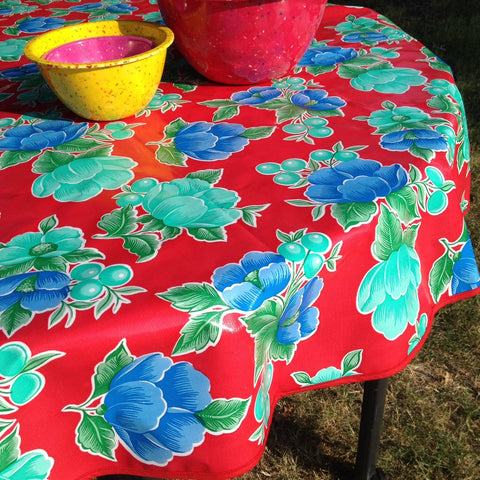 "60"" Round Oil Cloth Tablecloth - RED POPPY, RED TRIM"