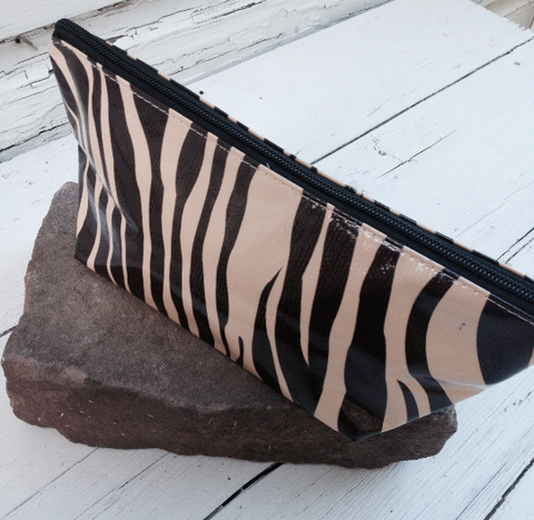 Oil Cloth Makeup Bag ~ Brown Zebra & Brown Lace