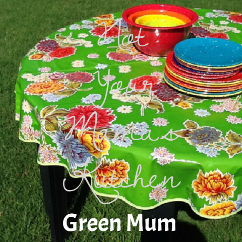 "60"" Round Oilcloth Tablecloth ~ Mum Oil Cloth Pattern"