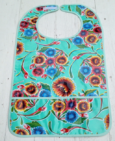 "Adult Oilcloth Bib 25"" x 16"" ~ Aqua Spring Bloom"