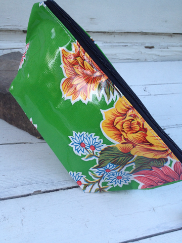Oil Cloth Makeup Bag ~ Green Mum & Orange Polka