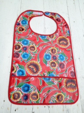 "Adult Bib, Oil Cloth ~ RED SPRING BLOOM & RED TRIM ~ 25"" x 15"""