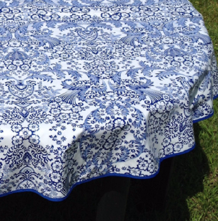 "36"" Round Oilcloth Tablecloth BLUE TOILE & BLUE TRIM"