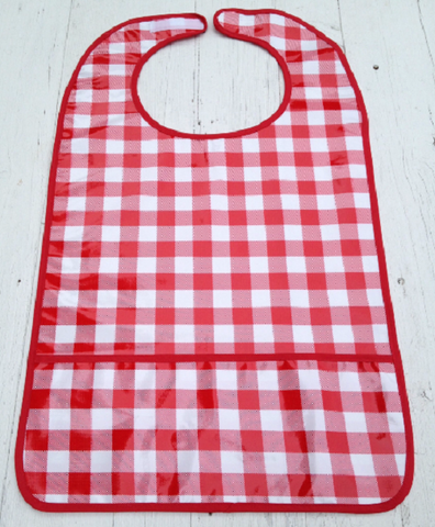 "Adult Bib, Oil Cloth ~ RED JUMBO GINGHAM ~ 25"" x 16"""