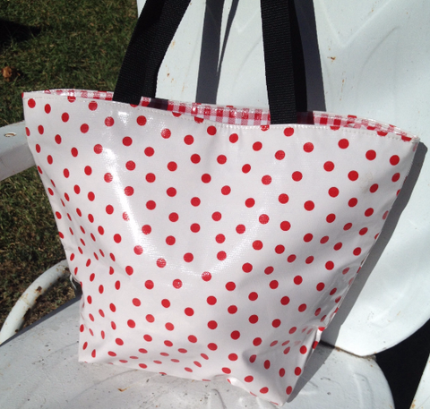 Oil Cloth Medium Zippered Tote Bag ~ Red Polka & Red Gingham