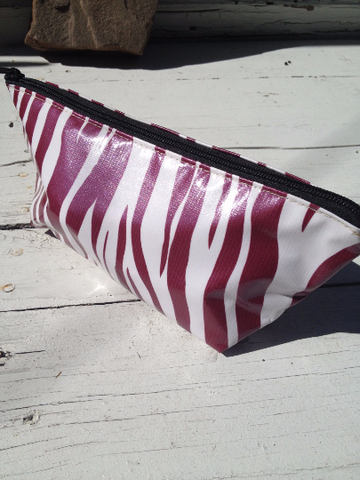 Oil Cloth Makeup Bag ~ Maroon Zebra & Silver Polka *DAMAGED*