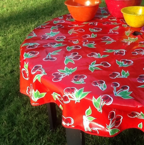"60"" Round Oil Cloth Tablecloth w/ Center Hole ~ RED CHERRY"
