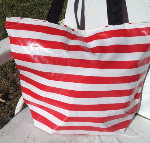 Oil Cloth Medium Zippered Tote Bag ~ Red Stripe & Red Polka
