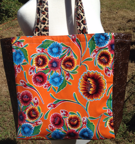 Oil Cloth Large Market Tote Bag ~ Orange Sweetflower & Brown Cheetah