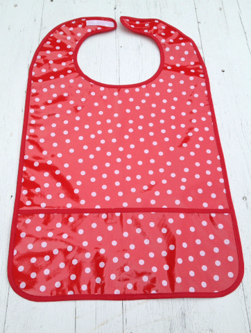"Adult Bib, Oil Cloth ~ Red w/ White Polka ~ 25"" x 16"""