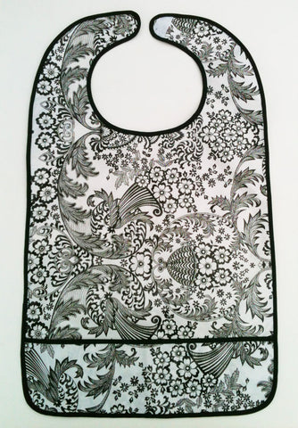 "Adult Bib, Oil Cloth ~ BLACK TOILE LACE & BLACK TRIM ~ 25"" x 15"""