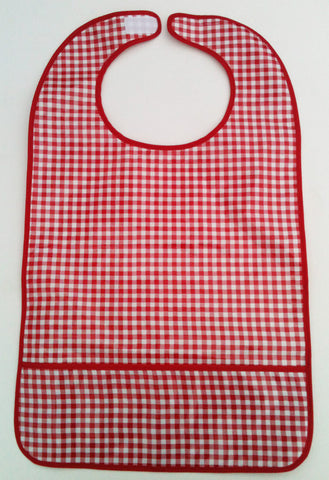 "Adult Oilcloth Bib 25"" x 15"" ~ Red Gingham, Red Trim"