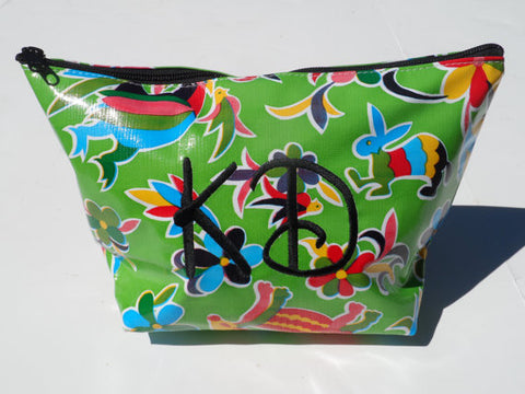 Oil Cloth Makeup Bag ~ Kappa Delta Sorority ~ Floral Birds GREEN