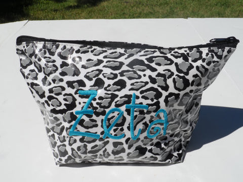 Oil Cloth Makeup Bag ~ Zeta Sorority ~ Cheetah SILVER