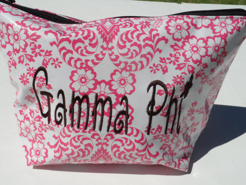 Oil Cloth Makeup Bag ~ Gamma Phi Sorority ~ Lace PINK *Discounted*