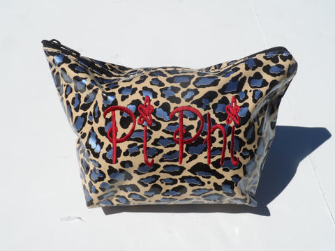 Oil Cloth Makeup Bag ~ Pi Phi Sorority ~ Cheetah BLUE