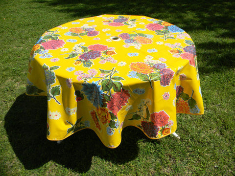 "60"" Round Oil Cloth Tablecloth w/ Center Hole ~ YELLOW MUM"