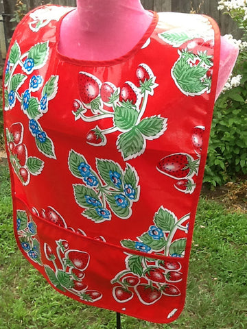 "Adult Bib, Oil Cloth ~ Red Strawberry ~ 25"" x 16"""