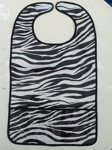 "Adult Bib, Oil Cloth ~ Black Zebra ~ 25"" x 16"""