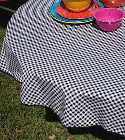 "60"" Round Oil Cloth Tablecloth BLACK GINGHAM & BLACK TRIM *DAMAGED*DISCOUNTED*"