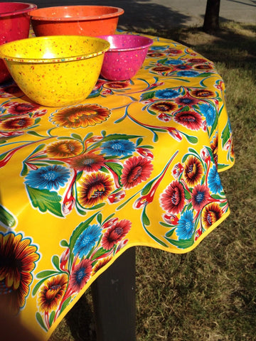 "60"" Round Oilcloth Tablecloth, Yellow Spring Bloom, Yellow Trim"