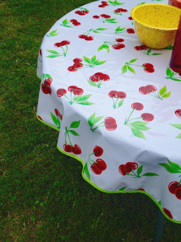 "60"" Round Oil Cloth Tablecloth - WHITE CHERRY, LIME TRIM"