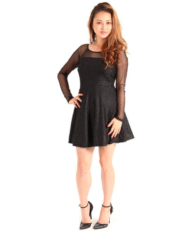 Black Velvet Burn Out Dress