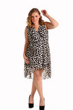 Donna Rae Polka Dot Surplice Dress