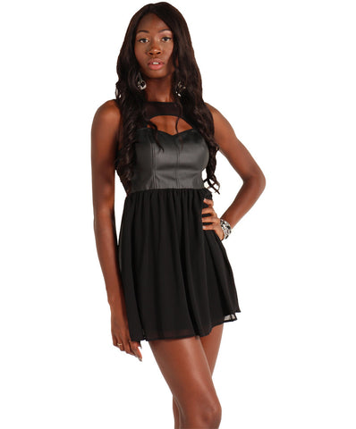 Leatherette Top Chiffon Bottom Dress