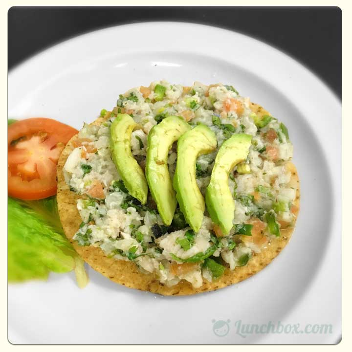 Healthy Ceviche Tostada Lunch