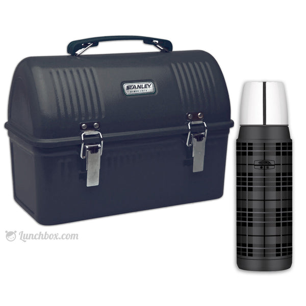 Construction Worker Black Dome Lunchbox And Thermos Bottle