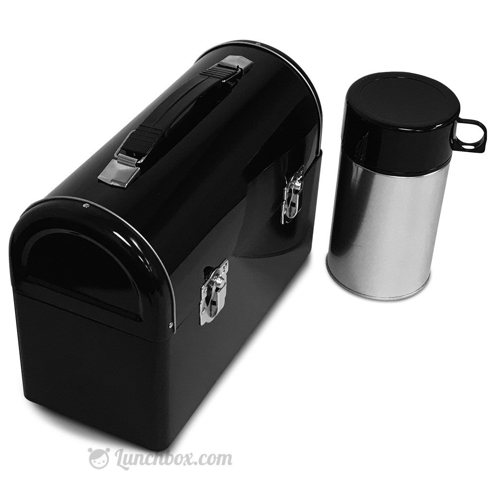 Plain Black Dome Lunch Box with Thermos Bottle