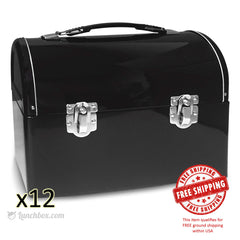 Plain Metal Dome Lunch Box - Black - Case of 12