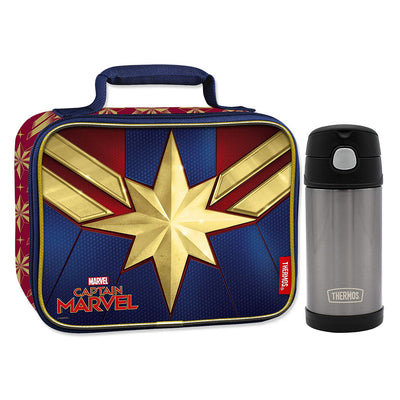 Captain Marvel Lunch Box with Thermos Bottle