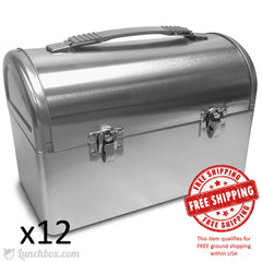 Plain Metal Dome Lunch Box - Silver - Case of 12