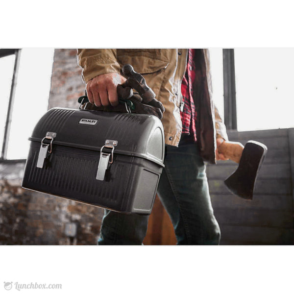 Construction Worker Black Dome Lunch Box
