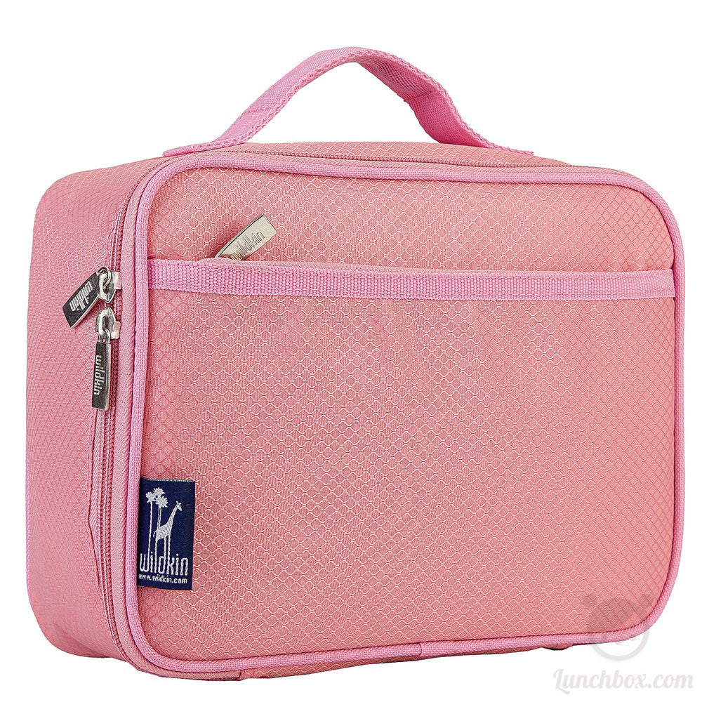Diamond Weave Insulated Lunch Box - Pastel Pink