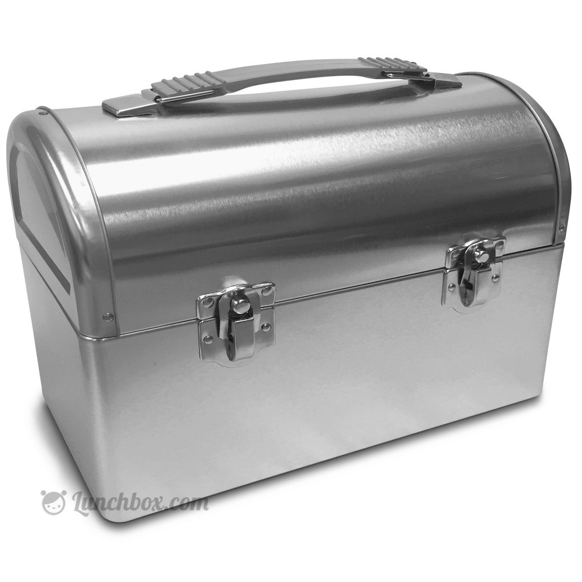 Delightful Metal Lunch Tin Part - 5: Plain Metal Dome Lunch Box - Silver
