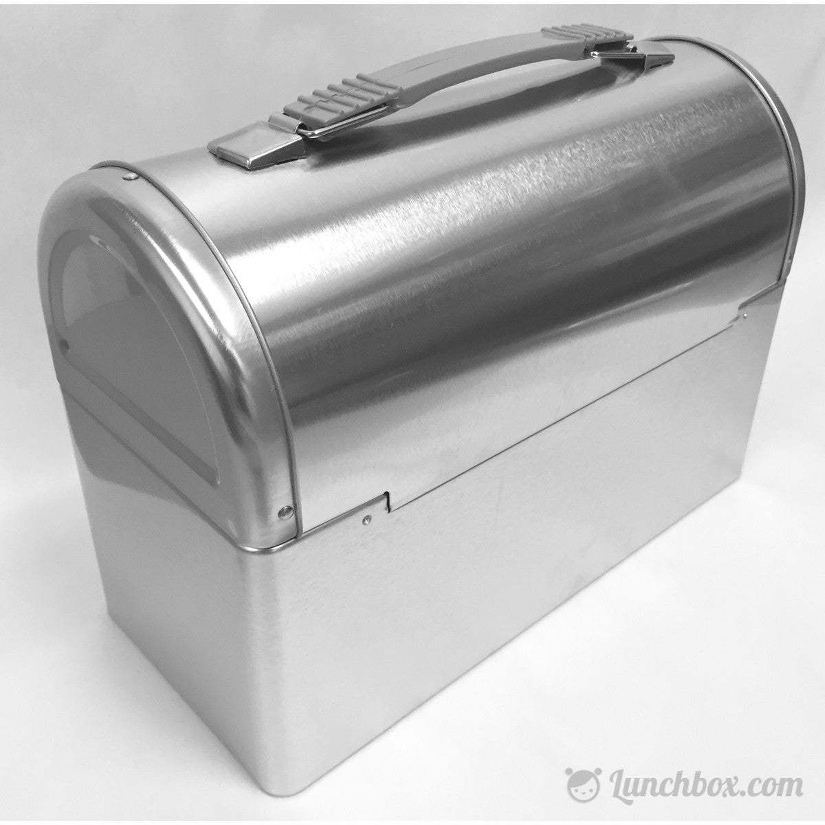 Metal Lunch Tin Part - 24: Plain Metal Dome Lunch Box - Silver
