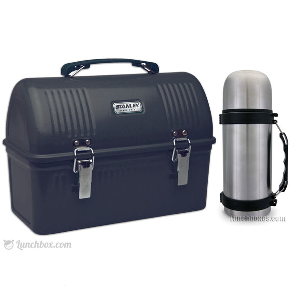 Construction Worker Black Dome Lunch Box And Thermos