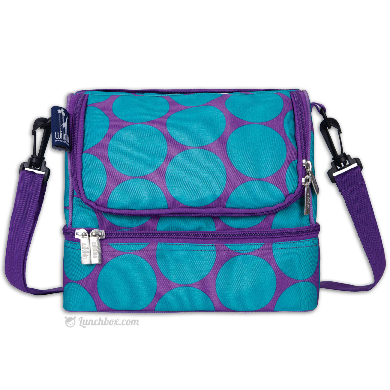 Double Decker Lunch Box - Big Dots Aqua