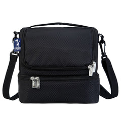 Double Decker Lunch Box - Diamond Weave Black