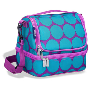 Double Decker Lunch Box Big Dots Aqua