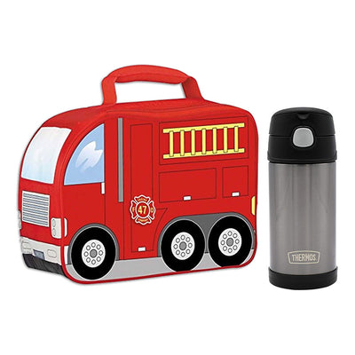 Firetruck Lunchbox and Thermos Bottle