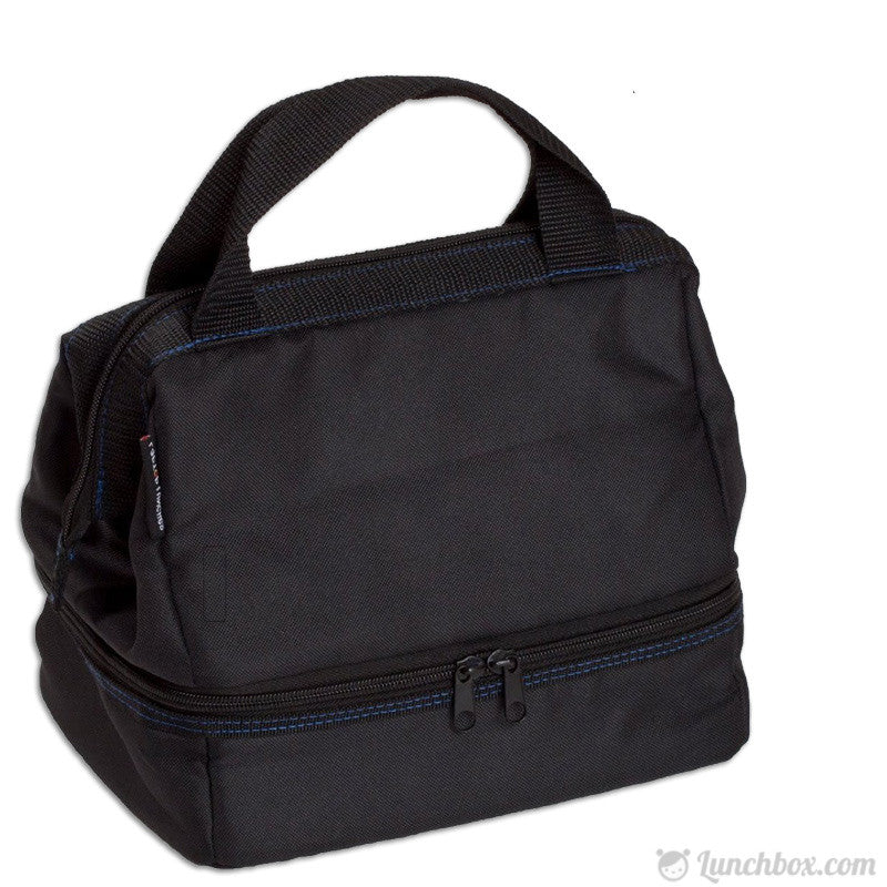 Dual-Compartment Insulated Bento Tote - Black