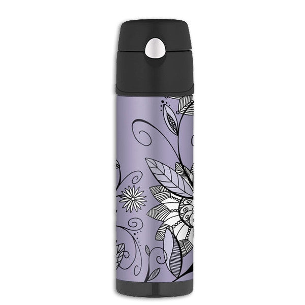 Purple Flower Insulated Drink Bottle