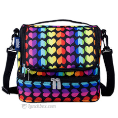 Double Decker Lunch Box - Rainbow Hearts