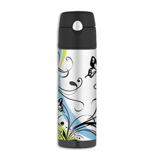White Butterfly Insulated Drink Bottle